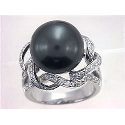 14KT White Gold 20.05ct Tahitian Pearl and Diamond Ring