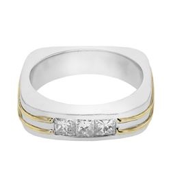 14KT Two Tone Gold 1.01ctw Diamond Mens Wedding Band
