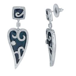 14KT White Gold 14.19ctw Onyx and Diamond Earrings