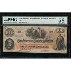 1862-63 $100 Confederate States of America Note PMG 58