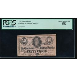 1864 50 Cent Confederate States of America Note PCGS 58