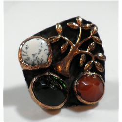 Tree-shaped silver and copper ring