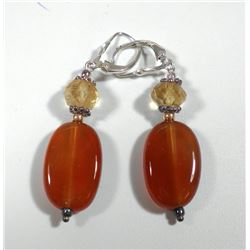 Pair of 925 sterling silver earrings with carnelians