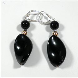 Pair of 925 sterling silver earrings combining a K14 gold bead and black onyx stones