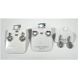 Lot of three pairs of 925 sterling silver earrings