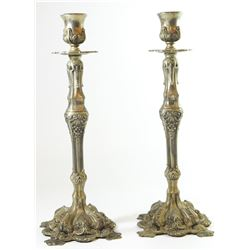 Pair of antique-style pewter Shabbat candlesticks