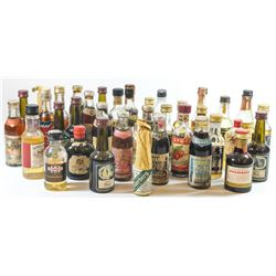 Collection of 37 miniature alcoholic beverage bottles