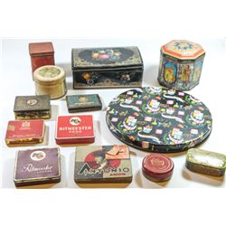 Collection of 13 tin cans of various products