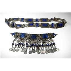Set of spectacular antique (low) silver Islamic belt and necklace with lapis lazuli settings