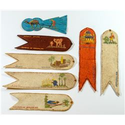 Collection of 7 cloth bookmarks, Mandatory Palestine