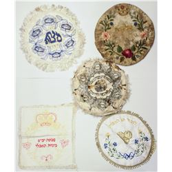 Collection of 5 old Matzah cover handkerchiefs