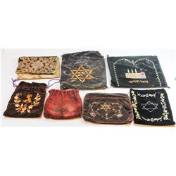 Collection of 7 old tefillin bags