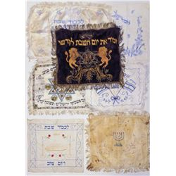 Collection of 7 handkerchiefs, Challah covers