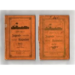 Lot of 2 German-Jewish calendars, 1912-1913