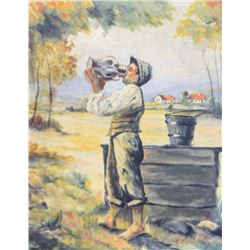 Unknown artist, antique Hungarian oil painting, rural boy drinking water