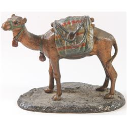 Viennese metal figure of a camel, cold-enamelled