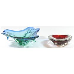 Lot of 2 old colorful Murano glass items