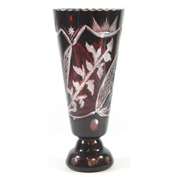 Ruby-color crystal flower vase