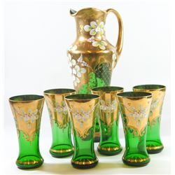 Bohemian glass tea set: Decanted and 6 glasses