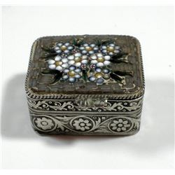 Old silver tobacco box embellished with micro-mosaic settings