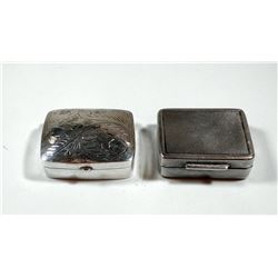 Lot of 2 silver tobacco boxes