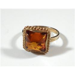 K9 gold ring with amber setting