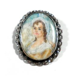 Old French miniature brooch