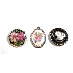 Collection of 3 old German porcelain brooches