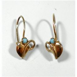Pair of K18 gold earrings with turquoise settings