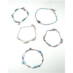 Collection of 5 925 sterling silver bracelets