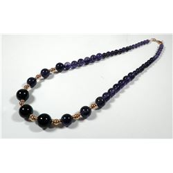 Layered amesthyst and K14 gold bead necklace