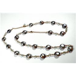 K14 gold necklace-bracelet with Japanese coin pearls