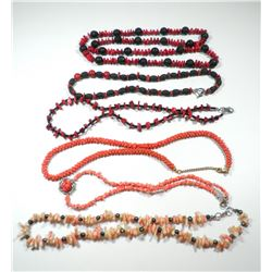 Collection of 6 coral necklaces