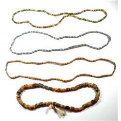 Collection of 4 old multicolor glass Trade Bead necklaces