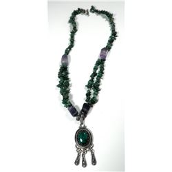 Gemstone necklace combining old Israeli 925 sterling silver pendant
