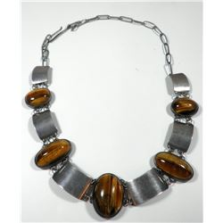 Retro 925 sterling silve link necklace with Tiger's Eye settings