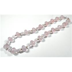 Rose quartz bead necklace, sterling silver and K14 gold