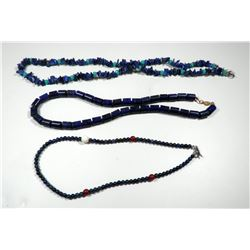Collection of 3 lapis necklaces