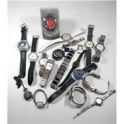 Collection of 19 watches: 18 wrist watches and a pocket watch