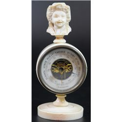Unique and Rare! Antique French desk barometer with carved ivory box