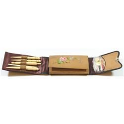 Small old portable sewing kit for voyage