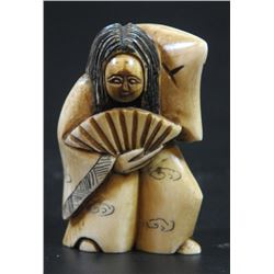 Happy-angry man, special old ivory netsuke