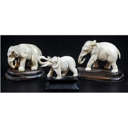 Collection of 3 carved ivory elephants
