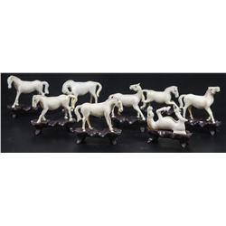 Set of 8 old Chinese horses carved in ivory