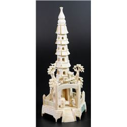 Buddhist temple, old ivory carving