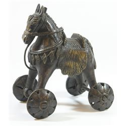 Elephant on wheels - old Indian bronze ritual figurine