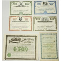 Collection of 6 stock certificates: 5 American and 2 Italian