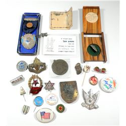 Collection of 23 badges and pins, mostly old Israeli ones, including IDF, Palmach, Freemasonry and m
