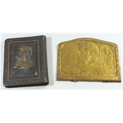 Lot of 2 Herzl-related items: bronze plate and notebook binding