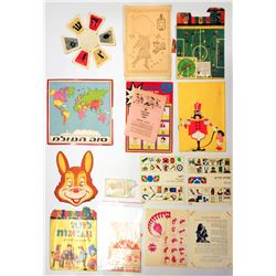Collection of Israeli games, posters and ornaments
